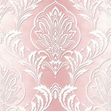 Aiya Damask Wallpaper by Crown - Pink M1164