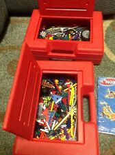 K'NEX Fun Tub RED Container with Idea Books Over 800 Pieces 2 Cases