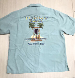 Tommy Bahama Days of Our Wines Embroidered Men's Hawaiian Silk Camp Shirt Sz XL