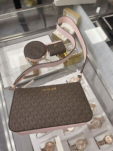 Michael Kors Crossbody with Tech Attached MK Signature Powder Blush Brown