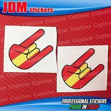 2 Adesivi STICKER BOMB Shocker rocker hand corna auto motoRed & Yellow SPAIN