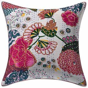 Indian Lounge Sofa Cushion Cover 16x16 Printed Kantha Cotton Pillow Case
