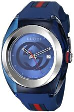 NEW GUCCI SYNC YA137104 BLUE RUBBER BAND UNISEX WATCH