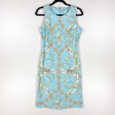 J. McLaughlin Womens Sheath Dress Blue White Geometric Stretch Sleeveless Zip S