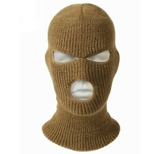 Solid Brown Coyote 3 Hole Knit Ski Cold Weather Face Mask Stocking Cap Balaclava