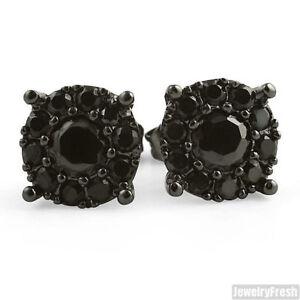 Black Finish Fancy VVS Cluster Stud Earrings for Men