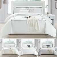 Embroidered Duvet Cover Set Hotel Quality Quilt Bedding Single Double King Size