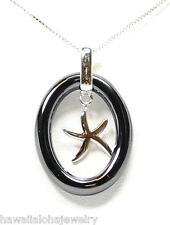 OVAL RING BLACK CERAMIC RHODIUM OVER SOLID STER SILVER HAWAIIAN STARFISH PENDANT