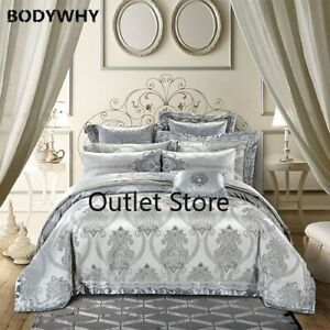 4/6/9 Pieces Grey Jacquard Silk Cotton Luxury Bedding Set Queen Duvet Cover