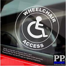 1x Accesso Sedia a rotelle-Round-Finestra Adesivo-segno, auto, distintivo, disabili, avviso, notare
