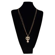 Gold Tone Cute Rhinestone Panda Pendant Long Fashion Necklace