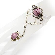 Rose Blume weiß bronze Perlen Armband Ring Dirndl Trachten Sklavenarmband