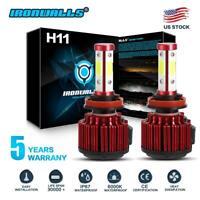 4-Side H11 H8 H9 LED Headlight Kits High Power Bulbs 6000K Canbus 2500W 375000LM
