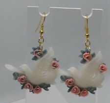 Dove Roses White Cream Flying Bird Birds Charm Earrings H405 Vintage Valentines