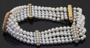 Vintage 18K gold elegant 2.25CTW VS1/F diamond 3.6mm pearl multi-strand bracelet