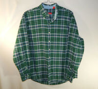 IZOD Long Sleeve Mens Casual Button Down Dress Green Plaid Shirt Size LARGE L