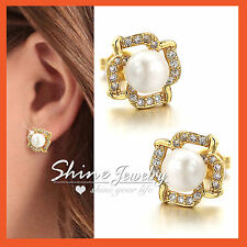 18K GOLD GF WOMENS GIRLS KIDS SOLID CUTE PEARL CRYSTAL FLOWER STUD EARRINGS GIFT