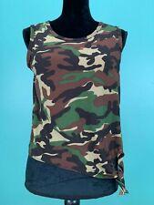 Women's Junior's Camo Sleeveless Tie Waist T-Shirt - Size Medium - Green, Brown