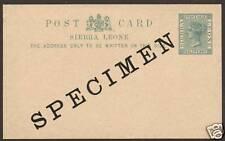 Sierra Leone H&G 5 mint 1893 SPECIMEN Postal Card  1;0