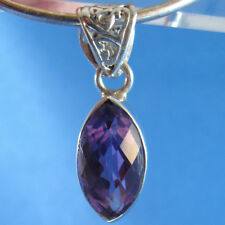 Purple Amethyst Faceted Marquis .925 Sterling Silver Pendant
