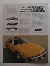 1977 Print Ad Fiat Sports Car Coupe ~ Of All the Mid-Engine Cars You Could Buy