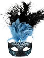 masquerade mask ladies venitian pale blue&black feathers ,blue black sparkle