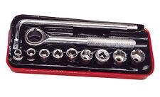 Coffret cliquet douilles 11 Pièces  de 6 à 14 mm Acier Chromé Cliquet Réversible