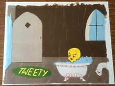 Tweety Bird Production Cel c. 1970 Warner Bros Studios Printed Background