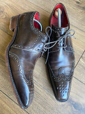 Vgc Jeffrey West Brown Leather Classic Pointed Men's Brogues Shoes 9 43 G