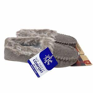 Dearfoams Marissa Moccasin Slipper M 7-8 Heather Gray Velour Fur Lined Comfort