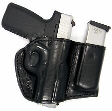 PREMIUM LEATHER OPEN TOP BELT SLIDE OWB HOLSTER W/ MAGAZINE CARRIER