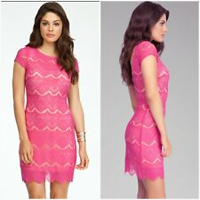 Bebe open back lace dress pink sz small$60