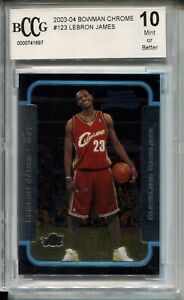 2003 Bowman Chrome #123 Lebron James Rookie Card Beckett Graded BCCG 10 Lakers