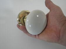 Ancien gros bouton de porte poigné porcelaine et laiton vintage lock door handle