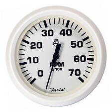 """Faria Dress White 4"""" Tachometer - 7,000 RPM (Gas - All Outboards)"""