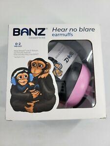 Baby Banz Infant Hearing Protection Earmuffs Pink Green Hear No Blare 0-2 Y/O