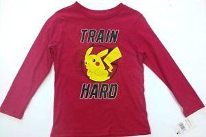 "Pokemon Boy's Long Sleeve ""Train Hard"" T-Shirt - Size: 5 - NEW/NWT"