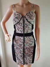 MINKPINK Ladies Black Floral Front Sleeveless Knee Length Dress Size: 14 EUC