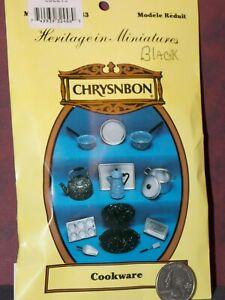Dollhouse Miniature Cookware Kit Black Pots Pans Chrysnbon 1:12 inch scale D27