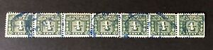 CANADA - 1934-48 # FX57 - 1/4c GREEN 3 LEAF EXCISE TAX - STRIP OF 7 - USED
