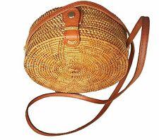 Handwoven Round Rattan Bag (Flower Weave), Woven Bag, Rattan Bag, Picnic Bag