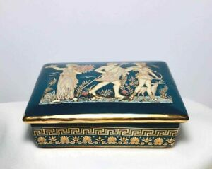 "Vintage GREEK 24K Gold Trim 6"" Ceramic TRINKET BOX MYTHOLOGY FIGURES"