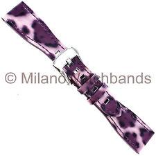 20mm Glam Rock High Quality Hand Made Patent Calf Purple Leopard Print WatchBand