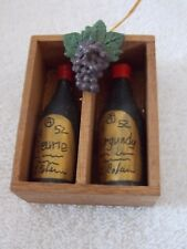 2 Wine Bottles In Crate With Grapes Christmas Ornament