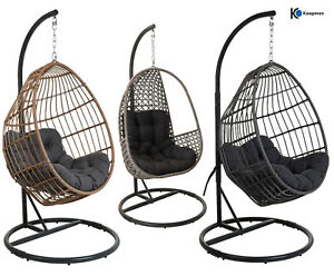 HANGING EGG CHAIR RATTAN SWING PATIO GARDEN - MOON, OVAL OR PEAR - GREY OR BROWN
