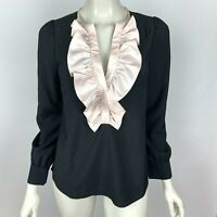 J Crew Solid Black Ivory Ruffle Front Blouse Top Long Sleeve V-Neck Women XS NWT