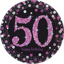 ROSA Celebración 50 Prismático PLATOS DE PAPEL 23 cm - 8 Paquete