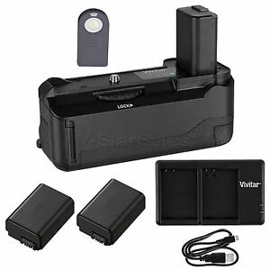 Vivitar Battery Grip for Sony A6000 + 2x NP-FW50 Battery +USB Dual Charger
