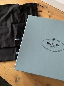 Genuine Designer Prada Empty Shoe Box With 2 X Black Dust Protector Covers