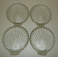 4 Vintage Anchor Hocking Clear Glass Scallop Sea Shell Plates Dishes